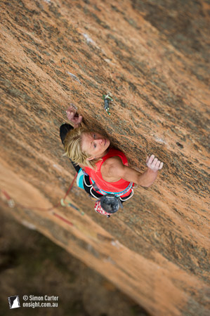 Monique Forestier made the third ascent of Microcosm (31), a beautiful thin 50-metre face on the Coke Ovens cliff, in the Wolgan Valley, Blue Mountains, NSW, Australia.