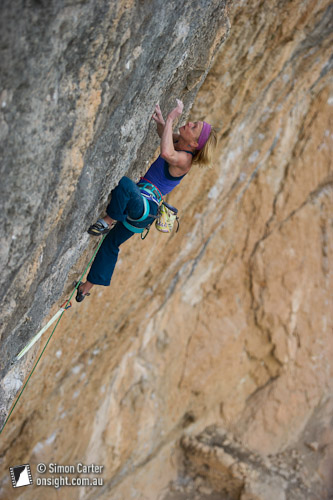 Monique Forestier, Fish Eye (8c), Oliana, Catalunya, Spain.