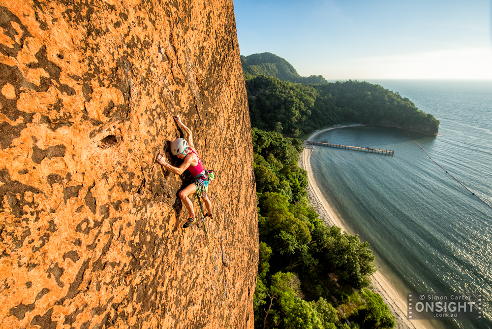 Monique Forestier attempting pitch 3 of Make it Snappy (6c, 7b+, 7c, ?, ?) on Berhala Island, off the coast of Borneo, Malaysia.