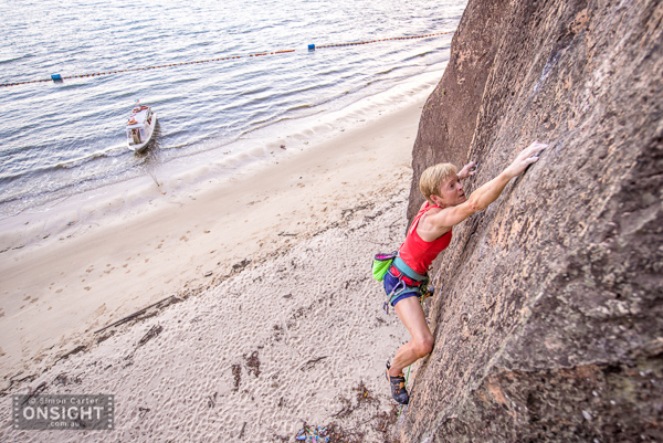 Monique, testing a newly rebolted route (7b).