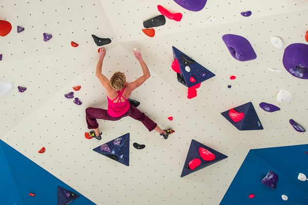 Monique Forestier  bouldering at the 9-Degrees gym at Parramatta, Sydney, Australia.
