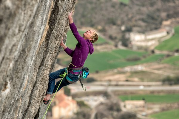 Monique Forestier, in her happy place, leading De picos pardos (8b), Oliana, Spain.